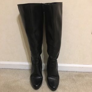 Nine West Tall Black Leather Boots
